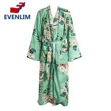 EVENLIM Floral Print Blouse Shirt Long Kimono Women Belt Slim Dress Cardigan Elegent Long Sleeve Summer