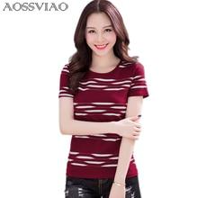 New 2017 Summer T Shirt Women Lady Short Sleeve Striped Contrast Slim Fitted T-Shirt Tops Clothing Blusas Feminino Shirts Tshirt