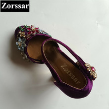 2017 NEW BIG size 33-43 Summer Womens Shoes rhinestone High heels sandals Women pumps shoes wedding party shoes purple