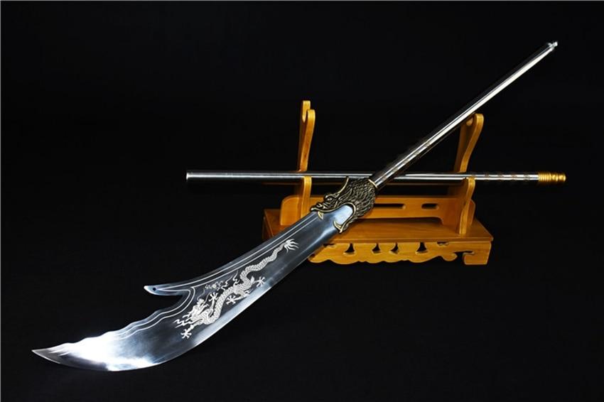 2019 Nieuwe Stijl 200 Cm * Lange Brede Mes Chinese Traditie Wushu Slagzwaard Zwaard Kungfu Da Dao Hoge Mangaan Staal Dragon Blade/ Lederen Schede