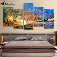 Framed Printed Sunset Light Reflecting In The Wave Painting On Canvas Room Decoration Print Poster Picture