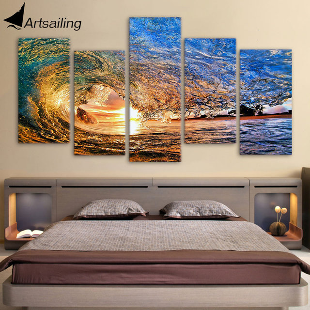 Hd printed 5 piece canvas art ocean wave painting living room decoration wall art free shipping