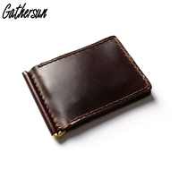 Men's Leather Wallet for Credit Cards and Money Handmade Vintage Genuine Leather Wallet Stainless Steel Spring Money Clip