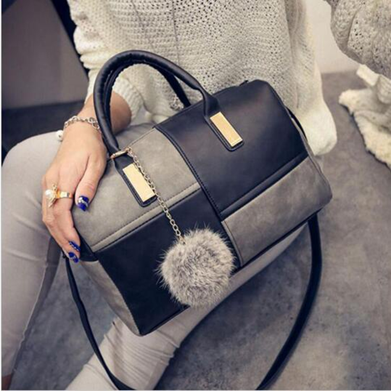 Hanup Women pu leather shoulder bags new female patchwork handbags hot sale ladies crossbody bags casual pillow bags sac a main new casual small patchwork pillow handbags hot sale women evening clutch ladies party purse famous brand shoulder crossbody bags