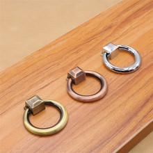 Antique copper pull handle ring single hole round ancient ancient red chrome European simple wardrobe door pendant handle [haotian vegetarian] chinese antique copper door handle ring handle hta 106 petals down payment