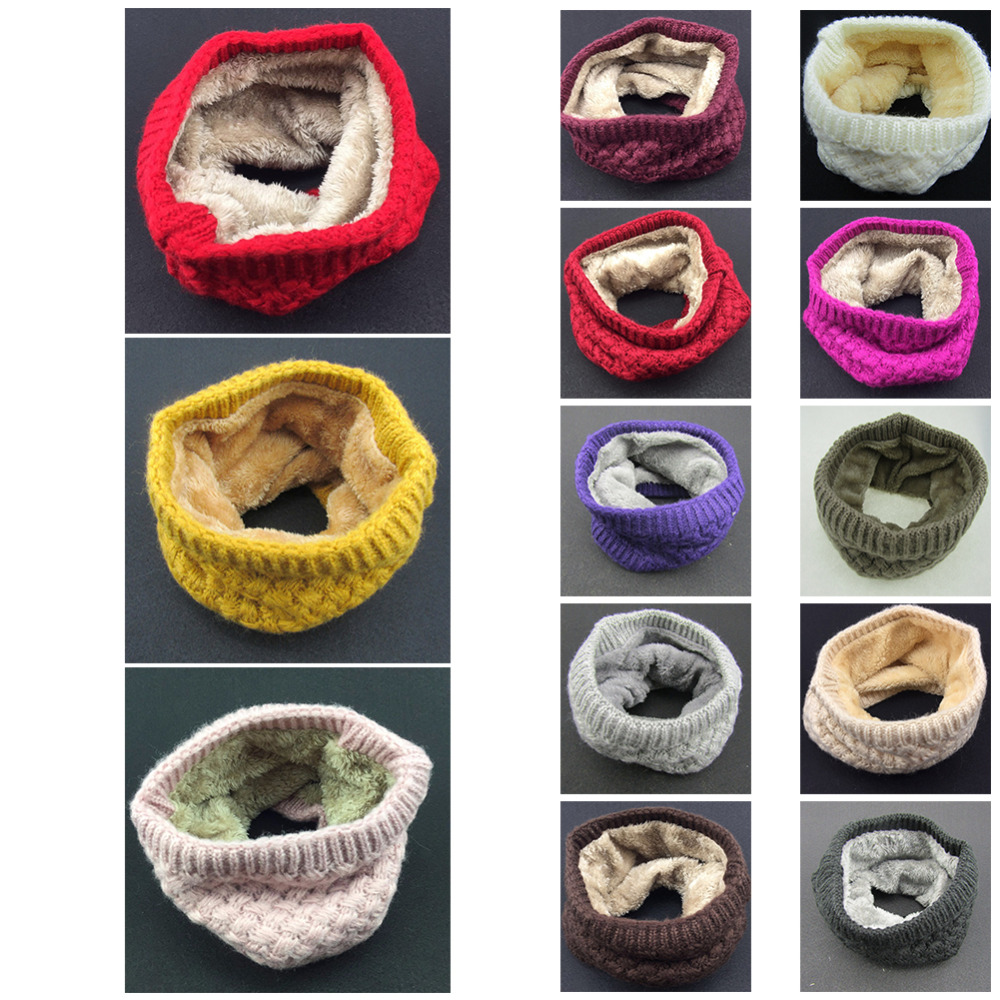 Winter Scarf Children Kids Women Cotton Scarf Ring Girls Boys Thickened Cashmere Collar Scarves Neck Scarf Wool Unisex