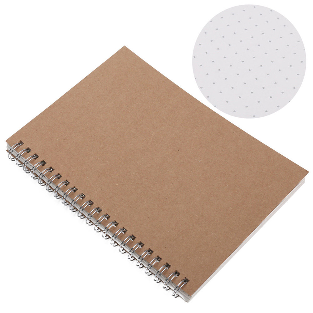 Cardboard Cover A5 Notebook Medium Hardcover 90 Pages Dot Grid Journal White Page School Office Supply