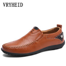 VRYHEID Brand Genuine Leather Men Casual Shoes 2019 Mens Loafers Moccasins Breathable Slip on Black Driving Shoes Big Size 38-47 bole brand handmade genuine leather men shoes design slip on breathable men driving shoes flats loafers shoes men big size 38 47