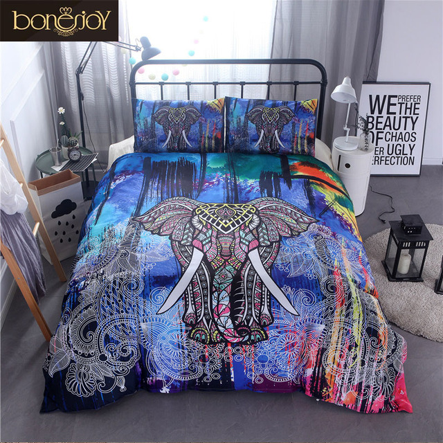 Bonenjoy Double Bedding Set Colorful Elephant Bed Cover For Queen King Size Cotton Blend Duvet