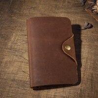 Men Crazy Horse Leather Wallet Cowhide Genuine Leather Passport Wallet Hasp Purse Card Holder Vintage Long