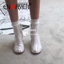 ENMAYER Fashion Ankle Boots Autumn Winter Round Toe Shoes for Woman toe Square Heel Black High Heels PVC Women CR781
