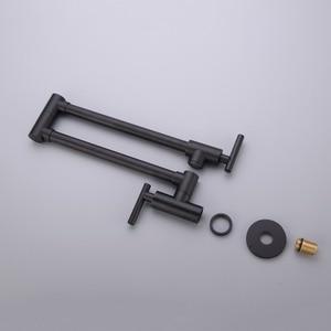 Image 2 - حنفيات مطبخ نحاسية سوداء من AODEYI قابلة للطي وعاء حشو 2 مقابض صنبور للطبخ على الحائط 13 012B
