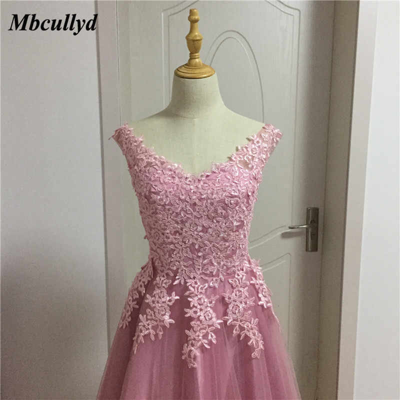 fdf9e15c2258d ... Mbcullyd Long Floor Length Wedding Guest Dresses 2018 Applique Lace Dark  Pink Bridesmaid Dress Sexy Backless ...