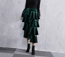 High quality elegant ruffles skirts 2018 autumn winter velvet Fashion women A-Line Skirt D242