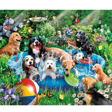YIKEE diamond painting group of dogs,dimond painting full square,diamond diamond painting K1558 h2658 yikee 5d full drill square diamond painting dimond painting full square diamond painting flower bird