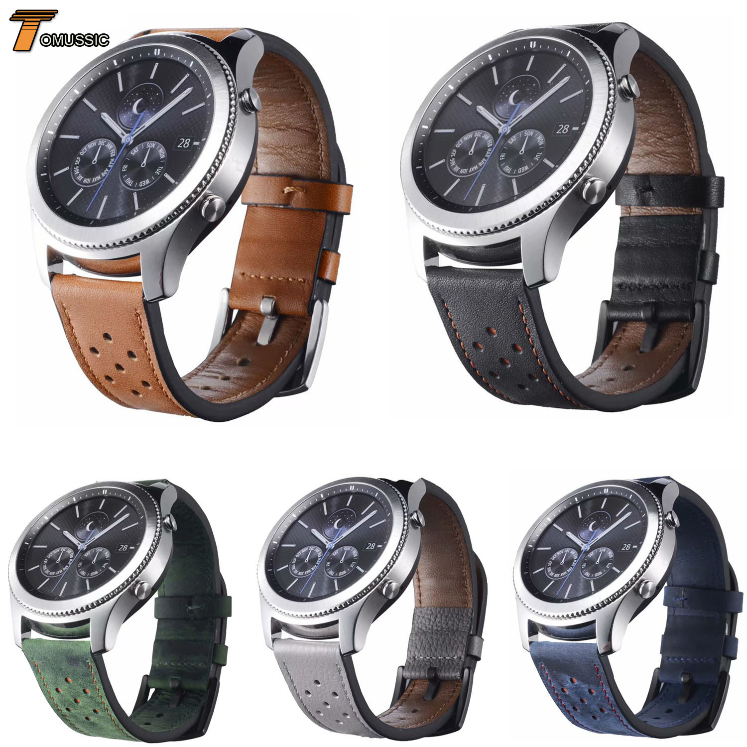 22mm Flower Hole Genuine Leather Watch Strap For Samsung Gear S3 Frontier Classic Replacement Band For Galaxy Watch 46mm Version 22mm replacement strap for samsung gear s3 classic watch band sport silicone bracelet strap for samsung gear s3 frontier band
