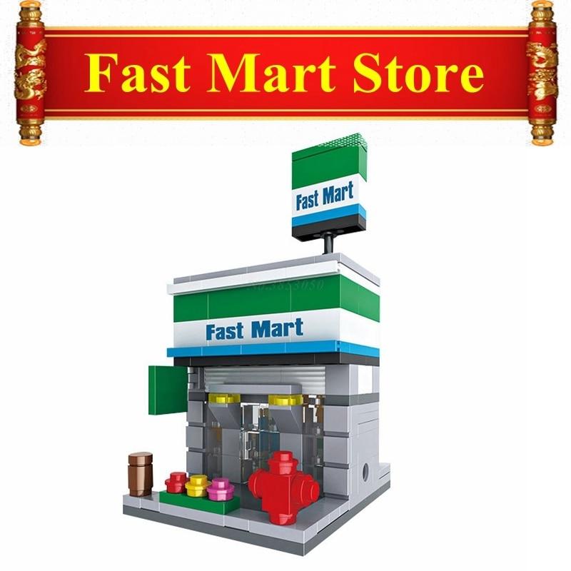 Blocks Punctual Mini Fast Mart Store Compatible Legoing City Architecture Street View Model Building Blocks Toys For Children Legoings Juguetes Fast Color