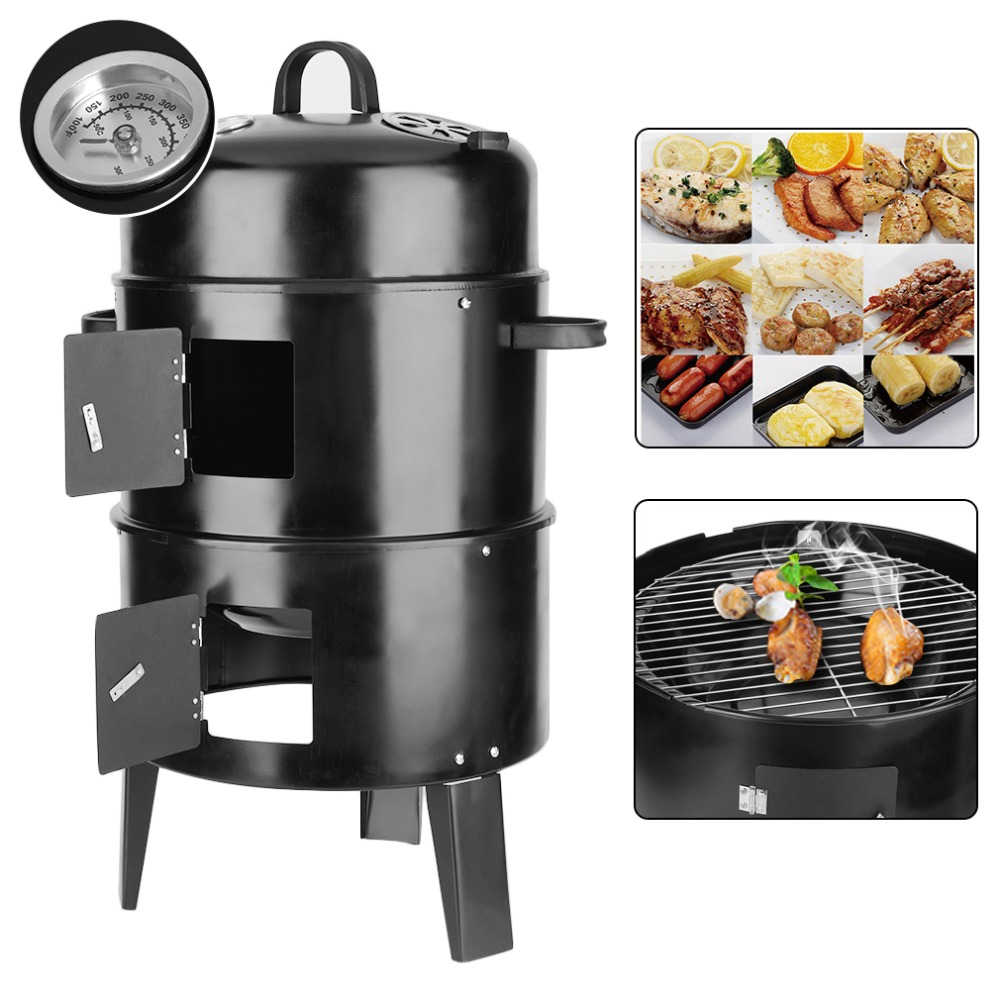3 Layer Steel BBQ Charcoal Grill Barbecue Smoker Garden Camping Cooking Black J25C26 earth star high quality 50 500 degree roast barbecue bbq smoker grill thermometer temp gauge new arrival 2