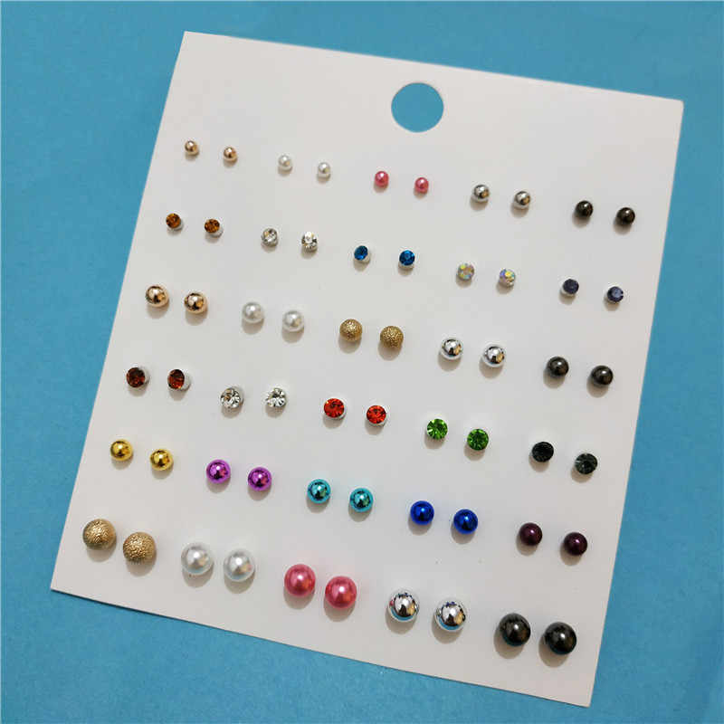 30 Pairs/lot Simulated Pearl Stud Earring Set for Girls Cute Resin Mermaid Scale Korean Style Brincos 2018 Jewelry
