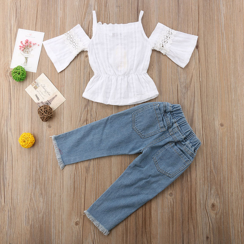 Toddler Kids Baby Girl Summer Off Shoulder Tops T-shirt Long Pants Jeans Clothes