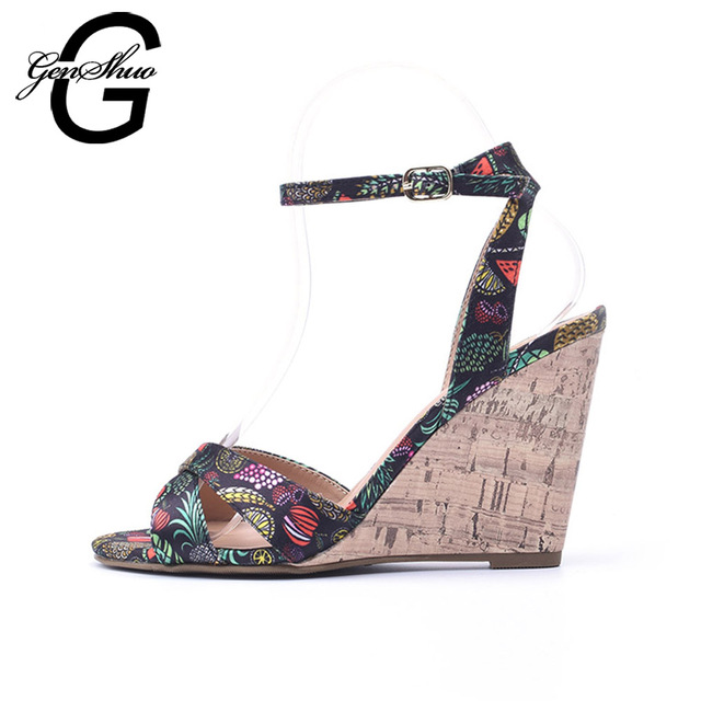 d7d9f42b480e Women s Wedge Sandals Ankle strap Woman High Heels Sandals Summer Shoes  Ankle Strap Sandal Cork Heel 10cm Blue White Printing-in High Heels from  Shoes on ...