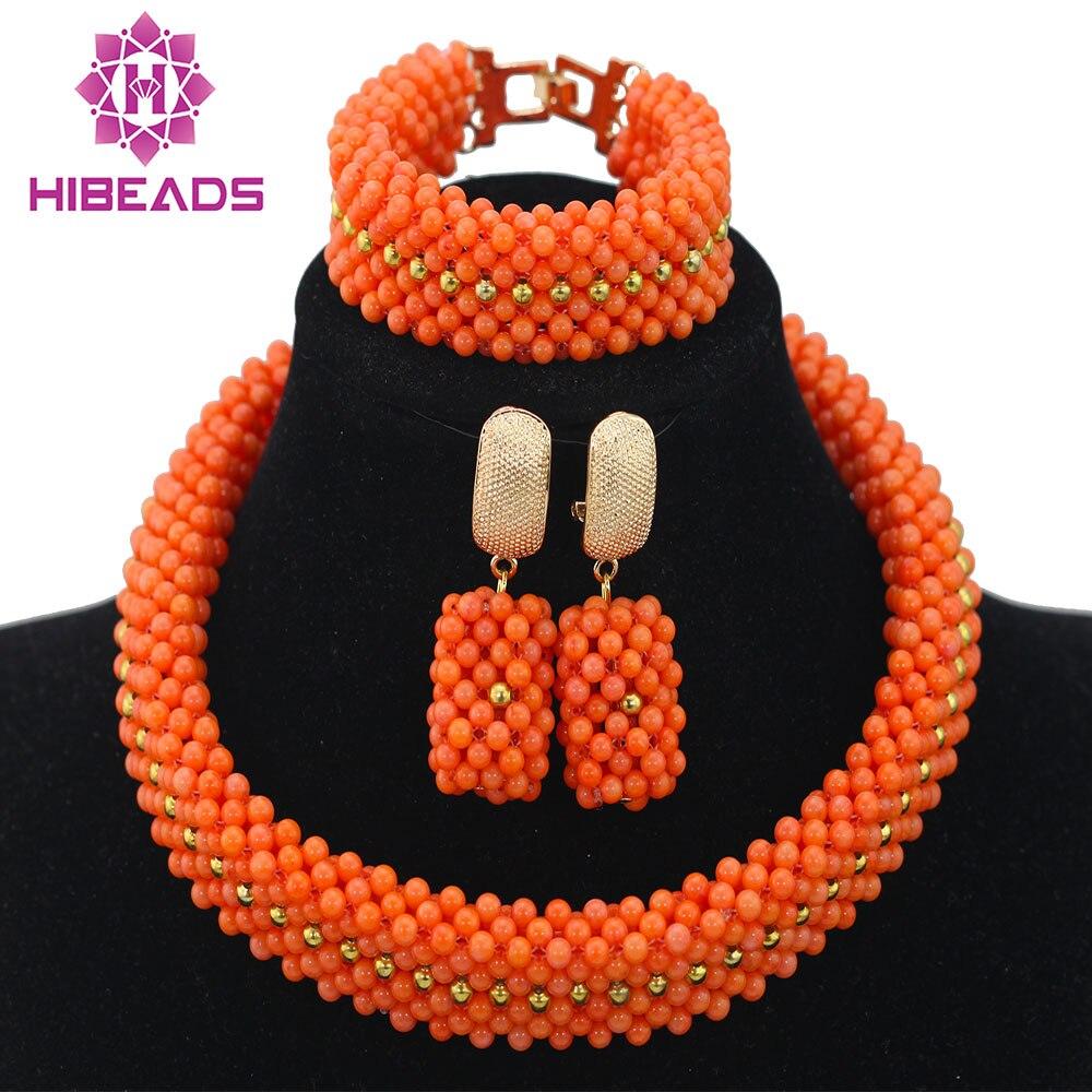 Splendid Nigerian Wedding Coral Beads Jewelry Set African Choker Necklace Bracelet Earring Set Free Ship QW583