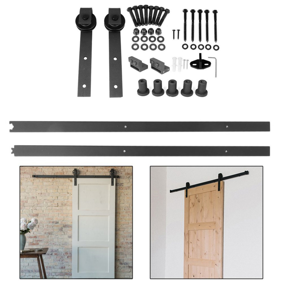 Steel Barn Sliding Wood Door Hardware Set Slide Rail Antique Track Roller System Hanging Wheel Door Hardware Free Shipping 2pcs set stainless steel 90 degree self closing cabinet closet door hinges home roomfurniture hardware accessories supply