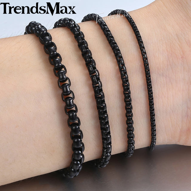 Men s Women s Black Stainless Steel Bracelet Box Chain Bracelets 2018  Dropshipping Wholesale Jewelry Hip Hop KBB12 294775e34