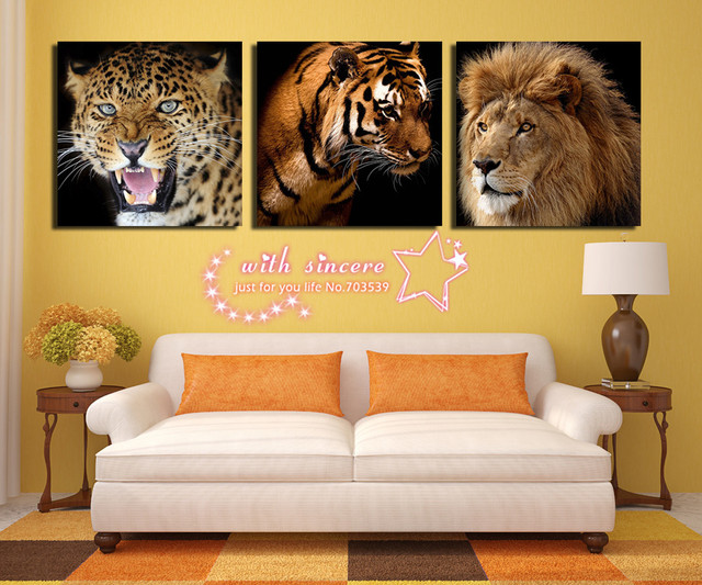 Free Shipping !!! 3 Pieces Wall Art Pictures For Living Room Tiger ...