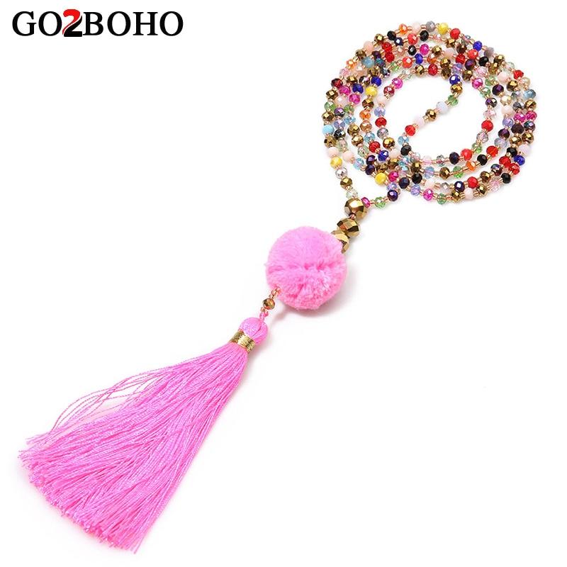 Go2boho Boho Pink Plush Ball Tassel Necklaces Pendants Ethnic Fashion Crystal Glass Beads Jewelry Handmade Weave Beaded Necklace