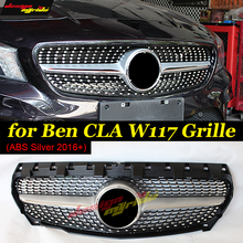 CLA-W117 Diamonds Front grille grill ABS Siver Fits For MercedesMB CLA180 CLA200 CLA250 Sports Grills Without sign 2016-in