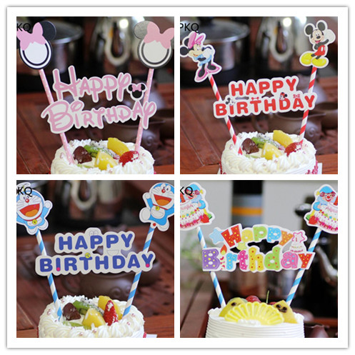1 SetPink Happy Birthday Cake Topper For Baby Shower