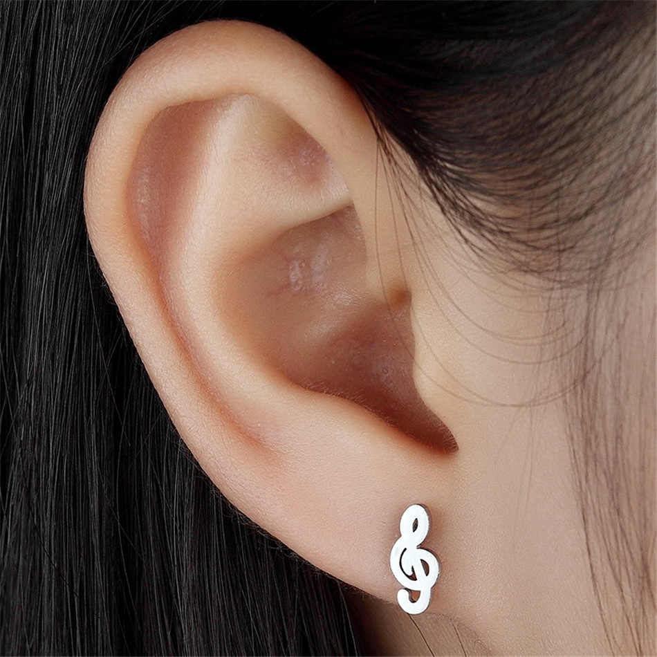 FGifter Rock Music Note Earrings for Men Women Silver Color Stainless Steel Stud Earrings Part Gifts