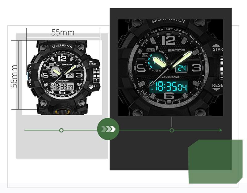 47659de3f2f SANDA 742 Military Sport Watch Men Top Brand Luxury Electronic LED ...