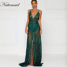 NATTEMAID Sequins Women Maxi Dress Sleeveless High Split backless Long  Dress Floor Length Bling sparkly Evening 631c1e8cf083