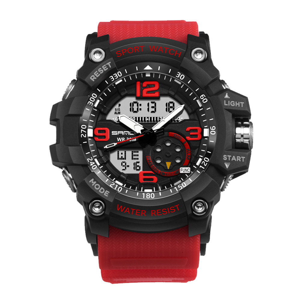 Digital Analog Dual Time Sport Watch Zones Calendar Chronograph Military Resin Wrist Watch Men 46