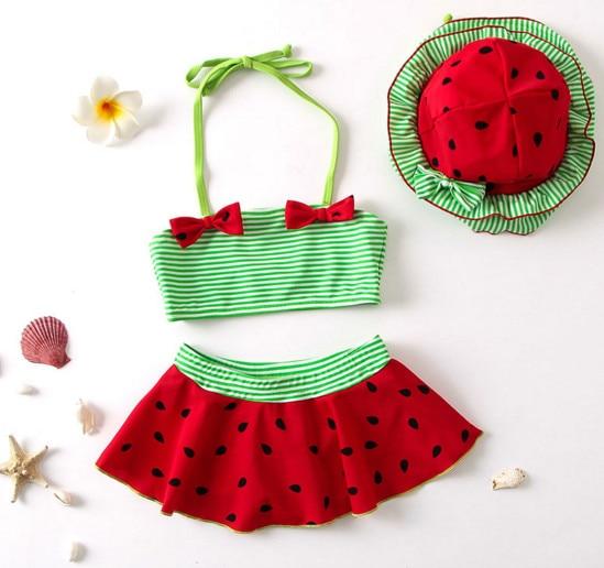 Nyan Cat Baby girls summer swimsuit bikinis red belt tops+skirt +hat 3pcs set infant toddler kids childrens fashion swimwear