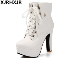 XJRHXJR Plus Size 33 43 Platform High Heels Boots Lace Up Chunky Heel Ankle Boots For