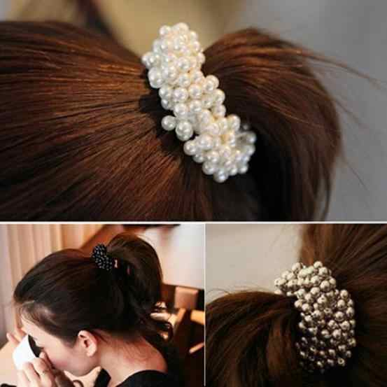 Cute Simulated Pearl Elastic Hair Bands Women Girls Scrunchies Ponytail Holders Hair Accessories Headbands
