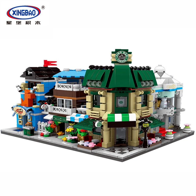 XingBao 01105 1079Pcs Genuine The Coffee Shop Wedding Store Flower Shop Pet Shop Set 4 in 1 Building Blocks Bricks Toys Model human in the store there are surprises low price store products lp st cheap suitcase