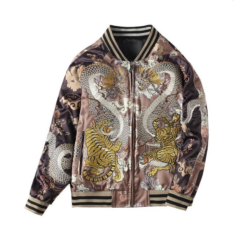 Unisex Women Men Bomber Jacket Reversible Dragon Tiger Embroidery Jacket Coat Large Size XS-XXL F66