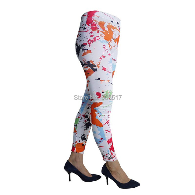 1cdc70e91d974 High Brand New Arrival Women Slim Pants Sexy Color Splash Ink Printed Jeans  Leggins Pencil Pants Skinny Slim Stretchy Leg