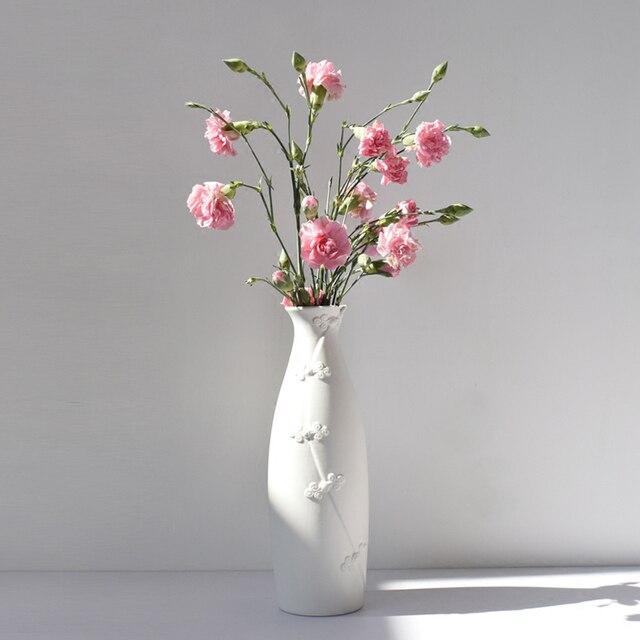 10 Zoll Chinesischen Cheongsam Design Vase Weiss Matt Keramik