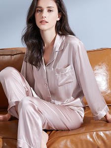 Pajamas-Set Suits Nightgown Silk Sleepwear Women Solid Pure 19m/m 100%Real