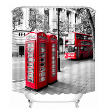 3D Red Telephone Booth Pattern Shower Curtains Beautiful View Bathroom Curtain Waterproof Thickened Bath Customizable