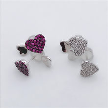 TIFF APM 925 Sterling Silver Stud Earrings with Zircon, White and Red Heart Shape, Chic,classic elegant ladies jewellery.(China)