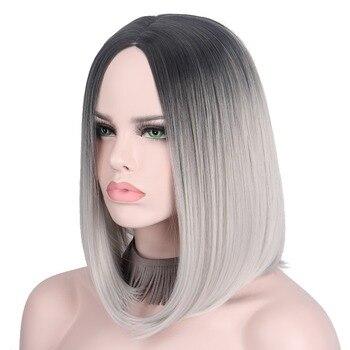 Kurze Grau Perücke Silber Haare Ombre Cosplay Perücken für Frauen Kurze Bob Perücke Keine Pony Mittelteil Schulter Länge Nicht menschliches Haar Anxin