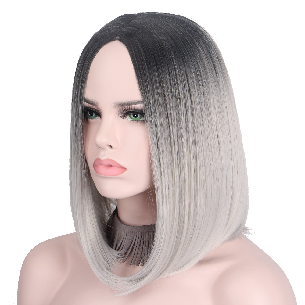 Short Gray Wig Silver Hairs Ombre Cosplay Wigs For Women Short Bob Wig No Bangs Middle Part Shoulder Length Not Human Hair Anxin