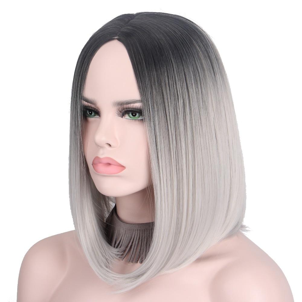 Kort Grå Paryk Silverhår Ombre Cosplay Paryk För Kvinnor Kort Bob - Syntetiskt hår