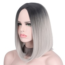 Μικρή γκρι ασημί περούκα Περούκες Ombre Cosplay περούκες για τις γυναίκες Σύντομη περούκα Bob Δεν Bangs Μέση Μέρος ώμου Μήκος όχι ανθρώπινη μαλλιών Anxin
